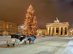 A snowy scene in Germany, complete with a horse-drawn carriage and a glorious Christmas tree.