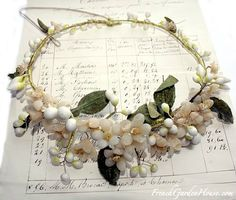 Antique French Wax Flower Wedding Tiara Orange Blossom  $385.00