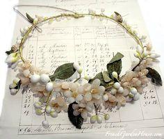 Antique French Wax Flower Wedding Tiara Orange Blossom  $385.00