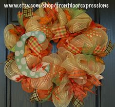 Personalized Fall wreaths available for as low as $50 at www.etsy.com/shop/frontdoorexpressions.  Check out our Fall collection or place a custom order.  LIKE us on Facebook to see all our designs and be the first to see new ones (https://www.facebook.com/pages/Front-Door-Expressions-by-Crafty-Dads/193516330794725)