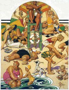 """Labor Day on the Beach"" by J. C. Leyendecker, 1932"