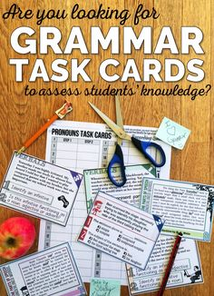 Get 192 attractive & unique task cards to help assess students' knowledge of grammar. Also comes with recording sheets & answer keys. More
