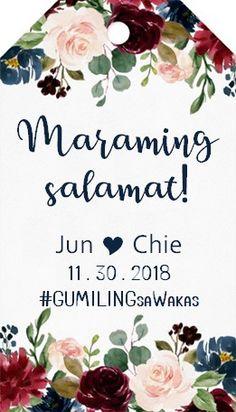 Thank you Tag. Filipiniana Wedding, Wedding Inspiration, Wedding Ideas, Thank You Tags, Wedding Thank You, Filipino, Wedding Invitations, Noel, Wedding Thanks