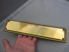 Brass Finger Plate Push Door Handle Antique Georgian STYLE Rope Edge REPRO #Edwardian