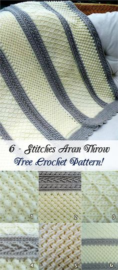 In this 6 – Stitches Aran Throw crochet pattern we will find 6 stitches pattern included! Popcorn stitch, Diamond stitch, Cable stitch, Arrow stitch, Celtic Weave and Basketweave. #crochetpattern #crochet #throw #homedecor #freepattern #stitch