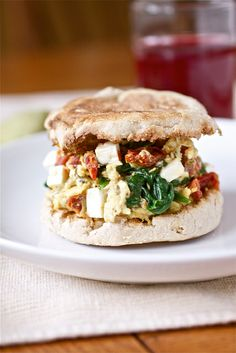 Spinach, Feta and Sundried Tomato Egg Sandwich Recipe - Healthy Breakfast Recipes