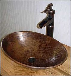 Photo of Top View - Rustic Bathroom Vanity: Rustic Bathroom Vanity with Copper Vessel Sink. I have the faucet, now I need the sink! Country Bathroom Vanities, Diy Bathroom Vanity, Bathroom Furniture, Bathroom Storage, Bathroom Ideas, Bathroom Mirrors, Bathroom Faucets, Basement Bathroom, Bathroom Cabinets