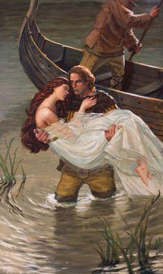 Tristan and Isolde by AaronMiller on DeviantArt - Konzept-Kunst Roi Arthur, King Arthur, Mode Poster, Renaissance Kunst, Hades And Persephone, Fairytale Art, Pre Raphaelite, Chivalry, Medieval Fantasy