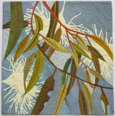 In My Portfolio: Gentle Breeze - Ruth de Vos : Textile Artist Australian Native Flowers, Australian Art, Hand Applique, Applique Quilts, Textiles, Tree Quilt, Quilt Art, Flower Quilts, Textile Fiber Art