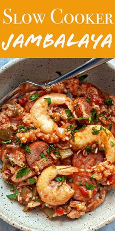 Slow Cooker Jambalaya! This Slow Cooker Jambalaya is a great way to make this New Orleans favorite with less effort! It's loaded with shrimp, chicken, sausage, and Creole seasonings. #slowcooker #jambalaya #shrimp #simplyrecipes #creole #neworleans Slow Cooker Recipes, Crockpot Recipes, Cooking Recipes, Healthy Recipes, Healthy Slow Cooker, Cajun Recipes, Seafood Recipes, Haitian Recipes, Louisiana Recipes