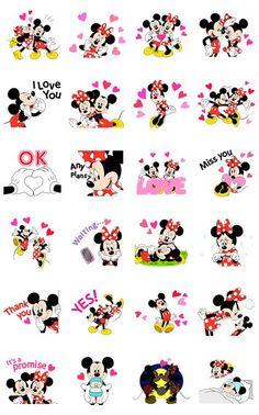 Mickey y Minnie están enamorados, ¡y lo demuestran en estos stickers animados! ¿Hay alguien especial en tu vida? Díselo con estos stickers.