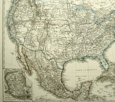 1877 Antique large map of THE UNITED STATES by AntiquePrintsOnly