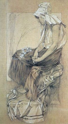 Seated female figure drawing by Alphonse Mucha (1860-1939).