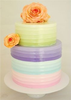 Pretty ombre pastel wedding cake