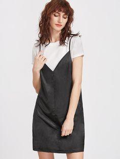 7076f1c5d724 Contrast 2 In 1 Cami Dress Make Me Chic