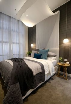 The Block Glasshouse - guest bedroom and study - Darren and Dee - get the look Apartment Style, Beach House Bedroom, Home And Living, Home, Modern Master Bedroom, Beautiful Bedroom Inspiration, Bedroom Inspirations, Home Bedroom, Wall Lights Bedroom