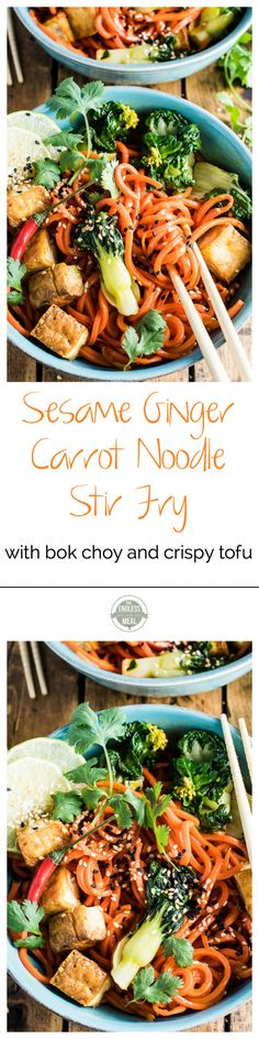 Sesame Ginger Carrot Noodle Stir Fry with Bok Choy and Crispy Tofu | The Endless Meal
