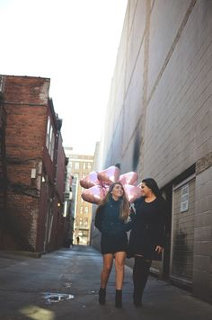 girls, city, photography, seniors, sisters, balloons, stylized, modern, alley, black dresses, boots, friends,