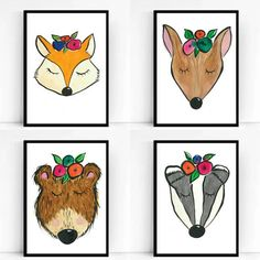 THESE ARE PRE SALE ITEMS AND WILL TAKE UP TO 4 WEEKS MANUFACTURING TIME.  PRE ORDER your limited edition set of 4 hand painted woodland animals. Each print comes professionally printed onto A4 250g coated card stock. All hand drawn in watercolour paints by my fair hands.  Each poster measures 29.7x21cm.  THESE ARE PRE SALE ITEMS AND WILL TAKE UP TO 4 WEEKS MANUFACTURING TIME.