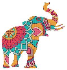 Cross Stitch Pattern modern Mandala Elephant animal sampler indian PDF Cross Stitch instant d. Modern Cross Stitch Patterns, Cross Stitch Charts, Cross Stitch Designs, Cross Stitching, Cross Stitch Embroidery, Embroidery Patterns, Beaded Cross Stitch, Vintage Embroidery, Loom Patterns