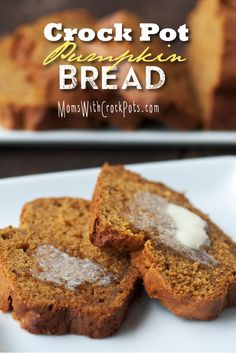Crock Pot Pumpkin Bread Recipe ~ Says: The smells of cinnamon, nutmeg, and more floating through the house as this bread bakes is enough to make anyone hungry. Your whole family will love this simple and delicious Crock Pot Pumpkin Bread pumpkin recipes Crock Pot Pumpkin Bread Recipe, Crock Pot Desserts, Pumpkin Recipes, Fall Recipes, Dessert Recipes, Crock Pot Bread, Pumkin Bread, Pumpkin Foods, Crock Pot Slow Cooker