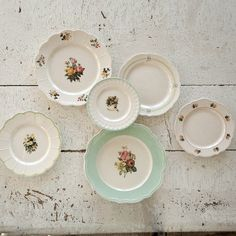 Cottage Kitchen Plate Collection Set of 6 - Painted Fox Home Antique Plates, Antique Decor, Decorative Plates, Antique Dishes, Vintage Decor, Antique Furniture, Shabby Chic Farmhouse, Antique Farmhouse, Farmhouse Style