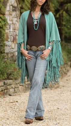 Love the jewelry, belt and shawl!