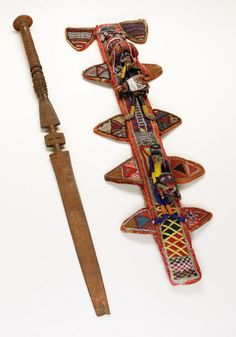Africa | Sheath and staff from the Yoruba people of Nigeria | Sheath; Glass beads and cloth | Late 19th to early 20th century