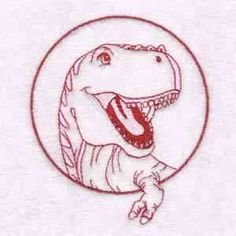 This free embroidery design is a T-Rex. Be sure to download this happy dinosaur today.
