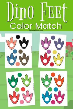 Free Printable Dinosaur Color Matching - The Activity Mom - Dinosaur Color Matching for Toddlers and Preschoolers FREE Printable - Color Activities For Toddlers, Colors For Toddlers, Printable Activities For Kids, Toddler Learning Activities, Motor Activities, Preschool Printables, Summer Activities, Family Activities, Dinosaur Theme Preschool