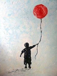 "TITLE: ""RED BALLOON"" ORIGINAL OIL PAINTING BY ZSAZSA BELLAGIO MEDIUM: OIL ON BOARD SIZE: LARGE DIMENSIONS: 32"" WIDTH  X  45"" LENGTH The emphasis is placed on the red ballon the child is holding. I chose this photo because it makes me happy because I love children."