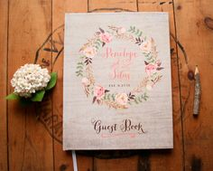 Wedding Guest Book Wedding Guestbook Custom by PaperPeachShop