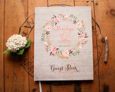 Boho Guest Book - Wedding Guestbook - Floral Guest Book - Custom Guestbook - Rustic Bohemian Wreath Keepsake - 8 x 10 by PaperPeachShop