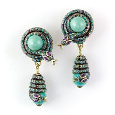"Heidi Daus Snake ""Captivating Coil"" Turquoise Drop Pierced Earrings"