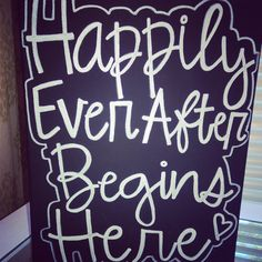 """Happily Ever After Begins Here"" canvas from Something Sweet Vintage Boutique in Kansas City. www.Facebook.com/somethingsweetkc"