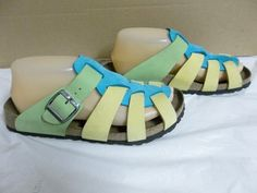 Papillio Birkenstocks Shoes Sandals Size 38 7 Green Yellow Turquoise Beautiful | eBay