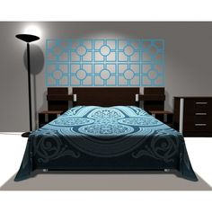 Wall Decal Geometric Headboard Dorm Decor Circle Shape Pattern Squares  #headboard #bedroom #walldecals #decor #vinyl Bed Back, Circle Shape, Dorm Decorations, Shape Patterns, Wall Decals, Backdrops, Shapes, Furniture, Home Decor
