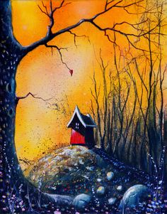 BLESSED HOUSE (Oil It's when the days are so dark that there is no longer room for tears that the sun once again appears. When the heat fills my body, I feel blessed. My house is on a golden bough. Long Room, Fairytale Castle, Make Me Smile, Cosy, My House, Fairy Tales, Blessed, Fine Art, Dark