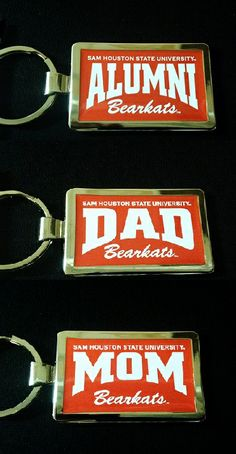 Sam Houston State Alumni, Dad, and Mom keychains