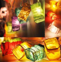 Multi Color String Lights Japanese Paper Lantern Fairy Lights Bedroom Home Decor Living Room Wall Hanging Lights Dorm Decor Battery & Plug Lantern With Fairy Lights, Paper Lantern Lights, Led Fairy Lights, String Lights, Multi Design, Japanese Paper Lanterns, Deco Boheme, New Chinese, Unique Lighting