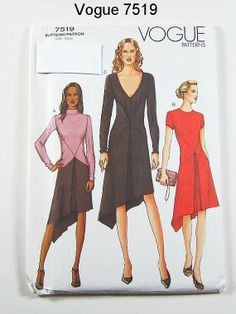Vogue Dress Pattern 7519  Misses' Asymetrical by ThePatternSource, $12.00