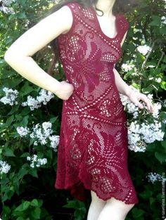 Мобильный LiveInternet Платье в «филейной» технике на основе салфетки филе. | TVORYU - Дневник TVORYU |