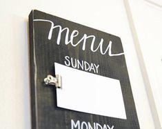 Menu Board Meal Planning Sign Weekly Wooden Rustic