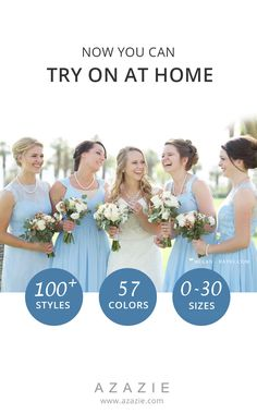 On the quest for the perfect dress? Experience Azazie's sample program and try on the dresses before you take the plunge! With over 100 styles, 57 colors and a wide range of sizes beginning from 0 to 30, perfect for your wedding party needs! Photos are courtesy of megan-hayes.com