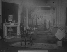 Waring and Gillows Ltd, Manchester, soft furnishing department showing fireplace, February 1912. IET Archives NAEST 074/04/0062