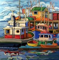 Artwork by artist Greta Guzek, represented by the West End Gallery. Seaside Art, Beach Art, Art Plage, Boat Painting, Great Paintings, Naive Art, Canadian Artists, Art Design, Pictures To Paint
