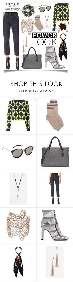 """""""Slim Crop Jeans..**"""" by yagna on Polyvore featuring Versace, RED Valentino, Yves Saint Laurent, Tumi, Gorjana, AGOLDE, Anyallerie, Sergio Rossi, Rockins and Rebecca Minkoff"""