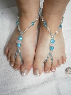Beaded Barefoot Sandals - Blue Barefoot sandles - Slave Anklet - Nude Shoes - Bridal sandals - Beach Wedding Something Blue