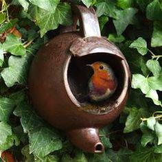 LOVE the idea of spout-down teapots for birdhouses :)