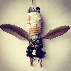 """""""Batboy"""", all fabric body plus metal, shells, feathers : Morgan Brig"""